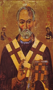 St. Nicholas is real; originally a Christian Bishop known for his generosity, he is the patron saint of children and his spirit serves as their protector. Sailors have also adopted him as their patron as well.13th Century icon from St. Caherine's Monestary.